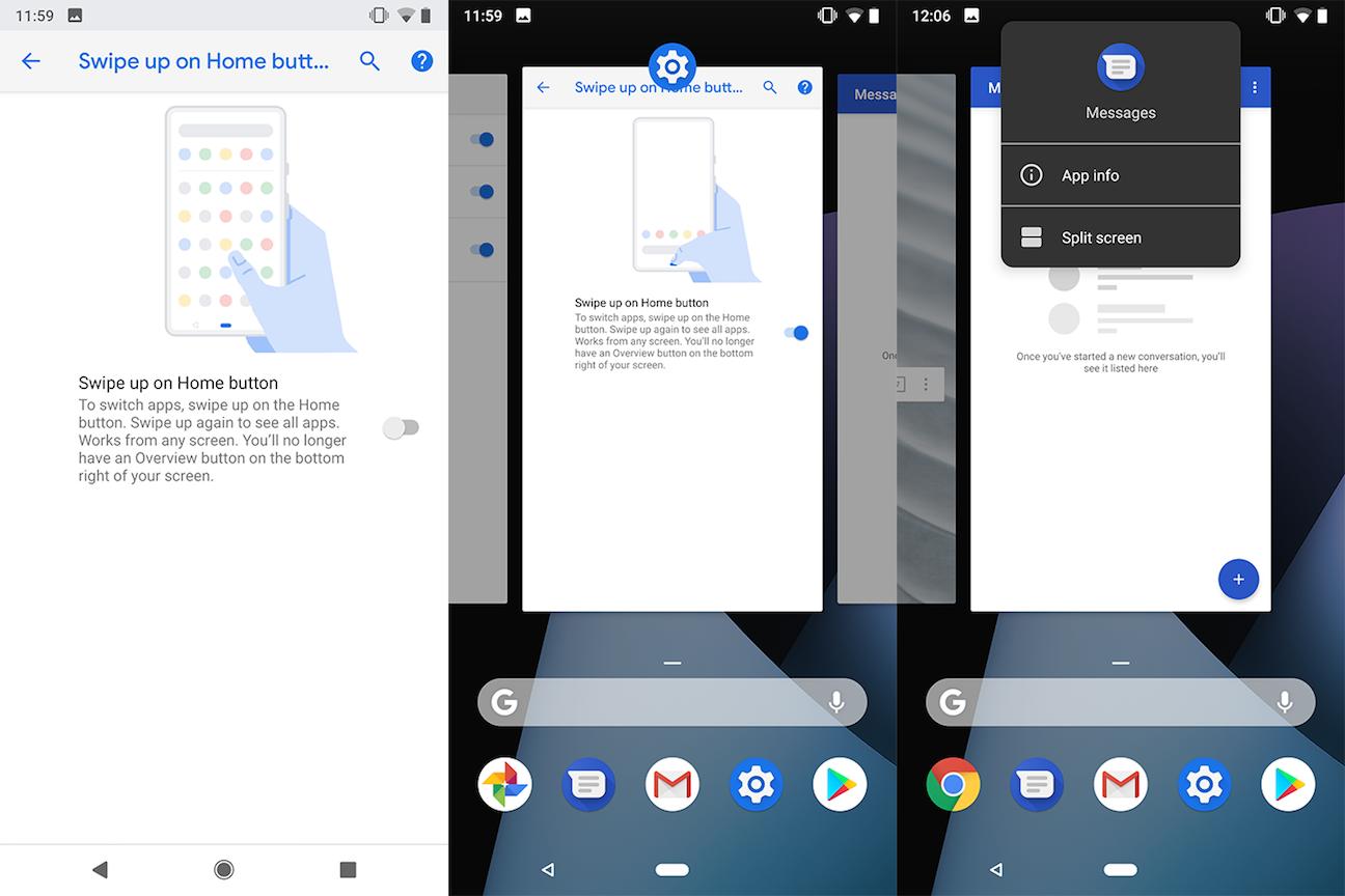 Свайп Android Pie