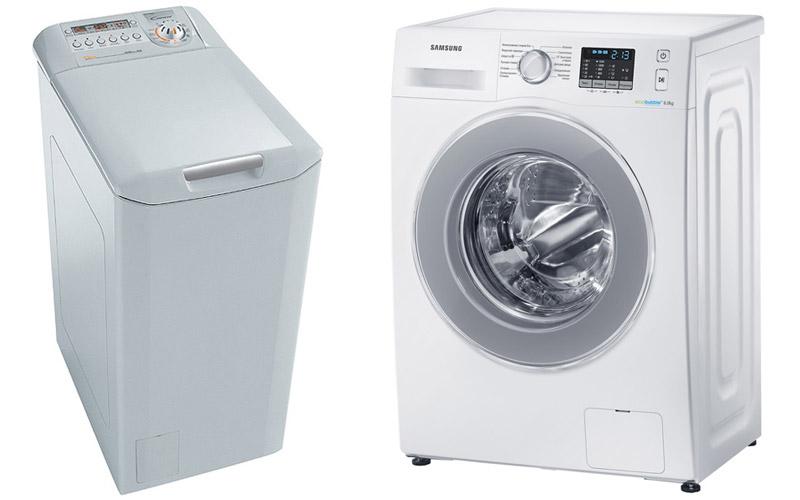 Слева - стиральная машина с вертикальной загрузкой белья, справа - с фронтальный